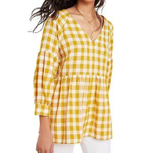 Maeve April Yellow Gingham Babydoll Top